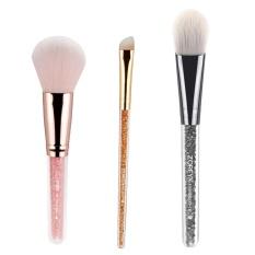 Lanyasy Makeup Kuas Kosmetik Total Face Blush Brush Professional Face Eyeliner Blush Contour Foundation Kuas Kosmetik untuk Bubuk Krim Cair Rhinestone Acrylic Smooth Handle. -Intl