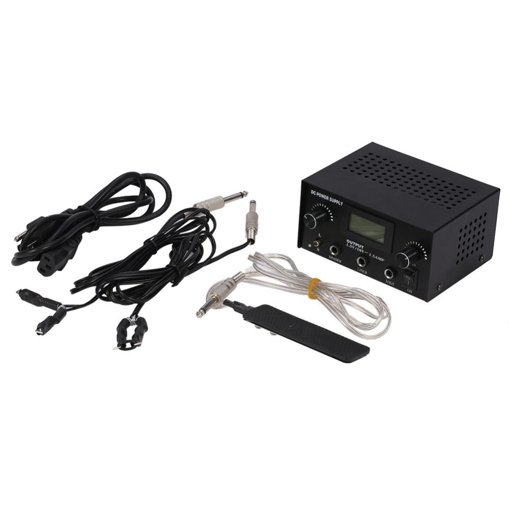 LCD Digital Dual Tattoo Shader Liner Machine Power Supply With FootPedal & Clip .