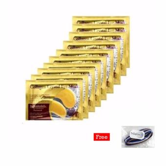 Masker Mata Collagen Gold Eye Crystal Collagen Mask - 10 Pcs + Free 1 pcs Polkadope Ikat Rambut