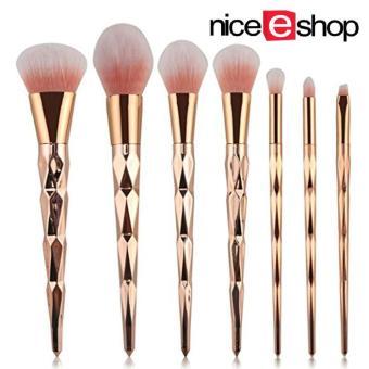 niceEshop Unicorn Thread Professsional 7pcs Makeup Cosmetic Brushes Set With Rose Gold Delicate Diamond Shape Handle