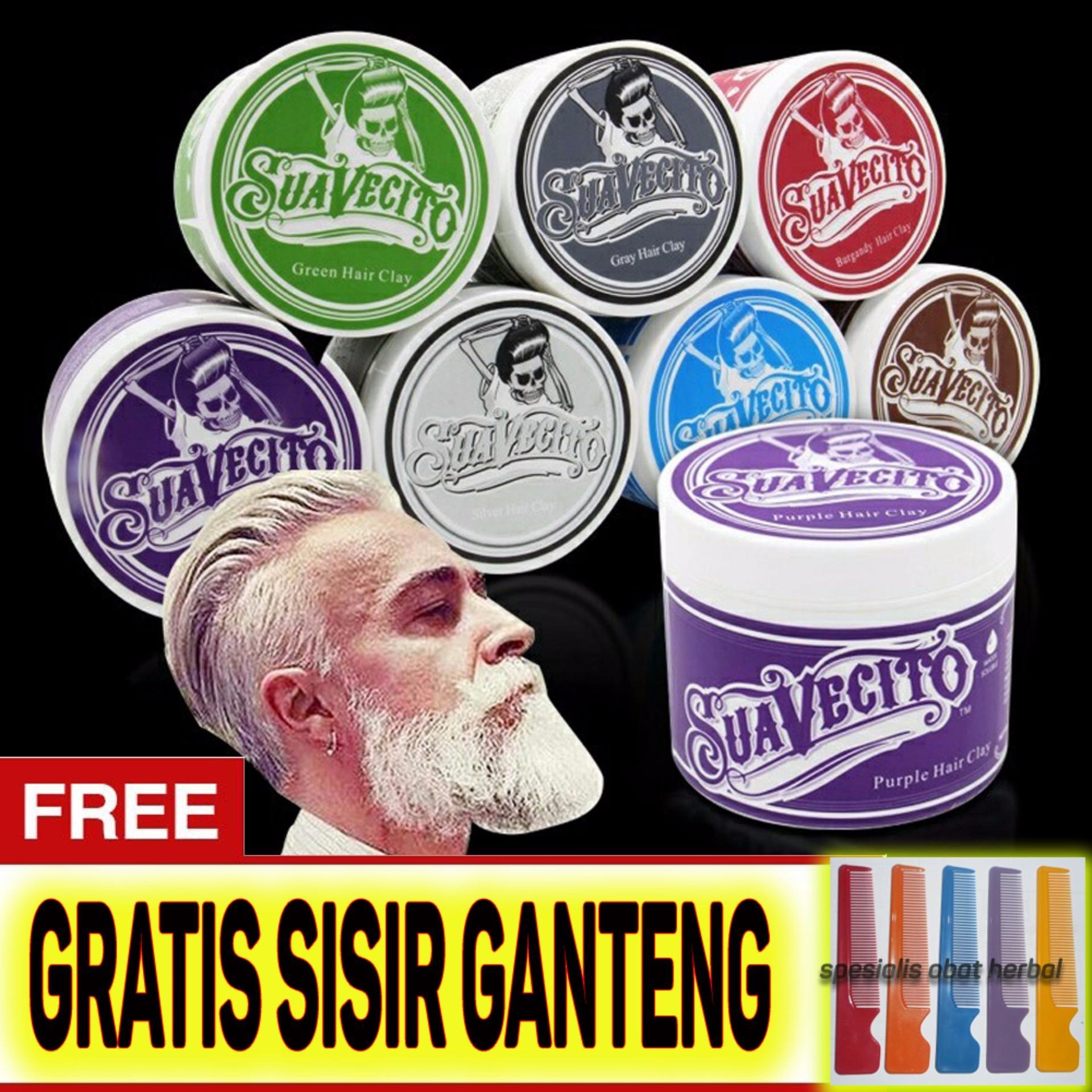 Original Suavecito Hair Pomade Murah Ganteng Maksimal Warna Waterbase Non Permanen - Gratis Sisir - Warna Ungu