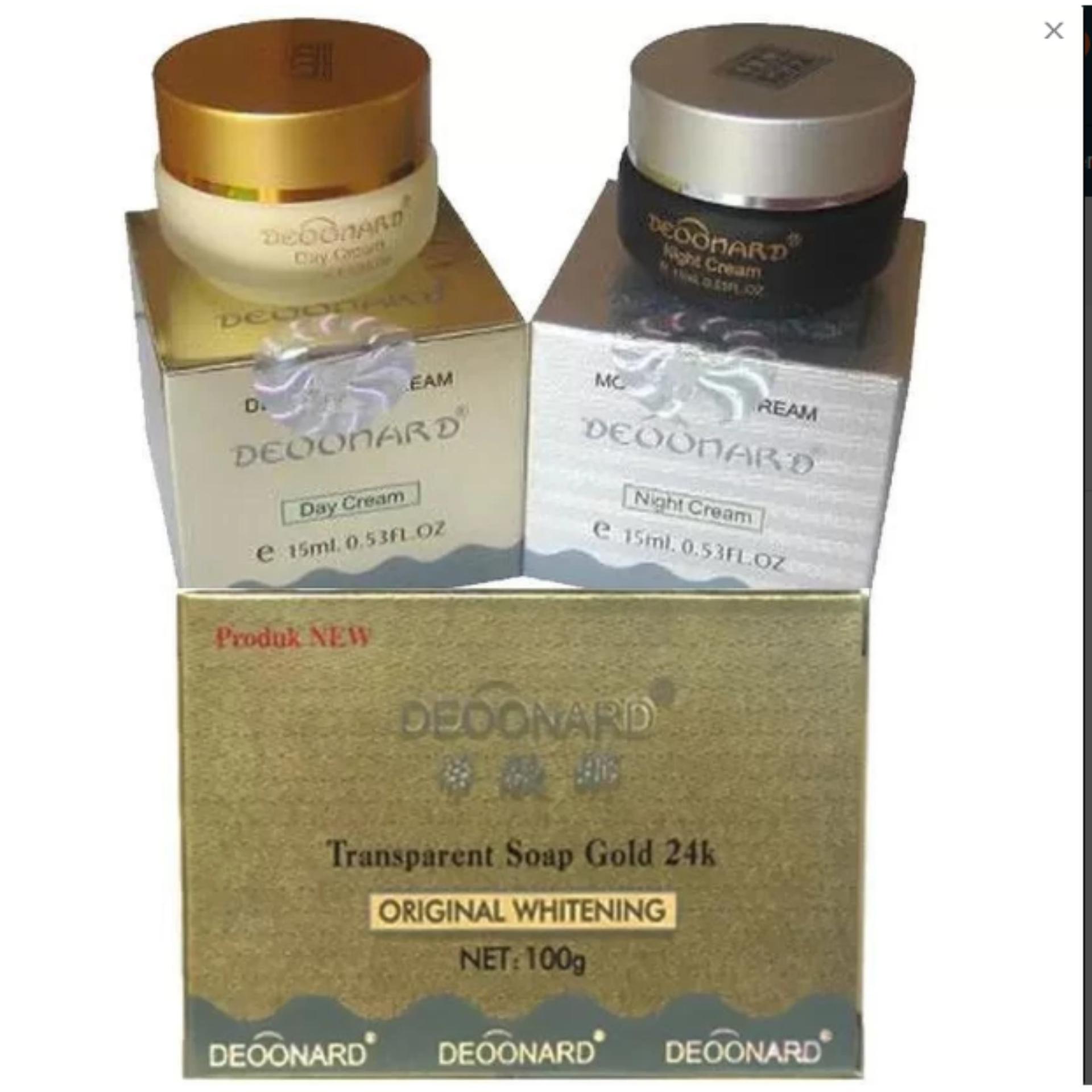 Hot Deal Paket Deoonard Cream Gold - Paket Perawatan Pemutih .Cream Siang Gold .Cream Malam Silver .Plus Sabun Whitening