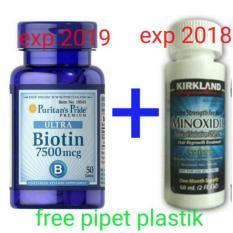 Paket Penumbuh rambut Kirkland Minoxidil 60 ml & Puritan Pride Biotin 7500 mcg 50Kapsul