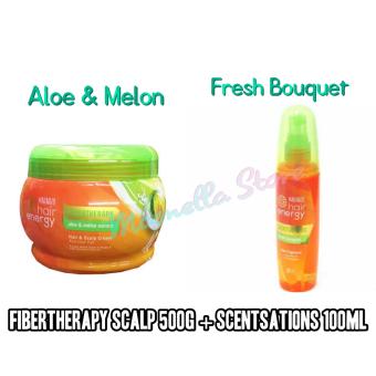 Paket Perawatan Rambut Makarizo Hair Energy Fibertherapy Hair and Scalp Cream Aloe & Melon 500g + Spray Fresh Bouquet 100ml