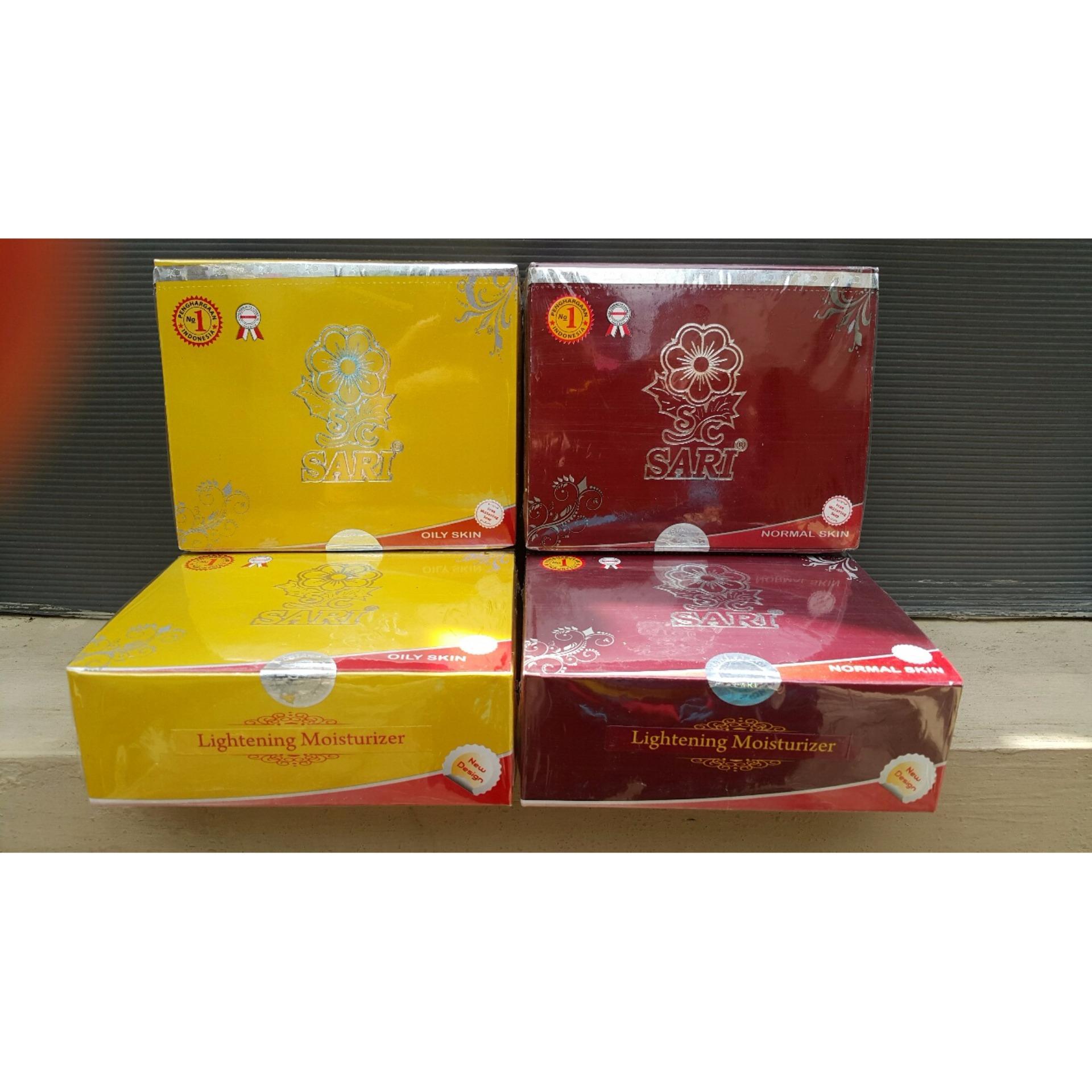 Flash Sale paket siang dan malam Cream Wajah SARI / SARI Moisturizer Whitening Cream untuk kulit normal warna merah ,cream pemutih wajah