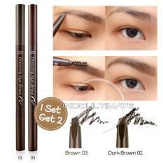 Pensil Alis & Sikat Alis 2 in 1 Brown & Darkbrown / Drawing Eye Brow Set PA-01 ETUDE HOUSE - Brown&Darkbrown