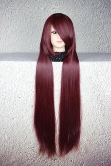 Harga Perempuan Long lurus rambut wig 100 CM cosplay Halloween manusia Murah