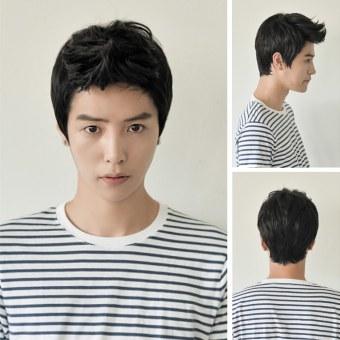 Harga Pesawat OEM wignya mahasiswa laki-laki dan anak laki-laki tampan Korea pendek rambut wig Hitam Murah