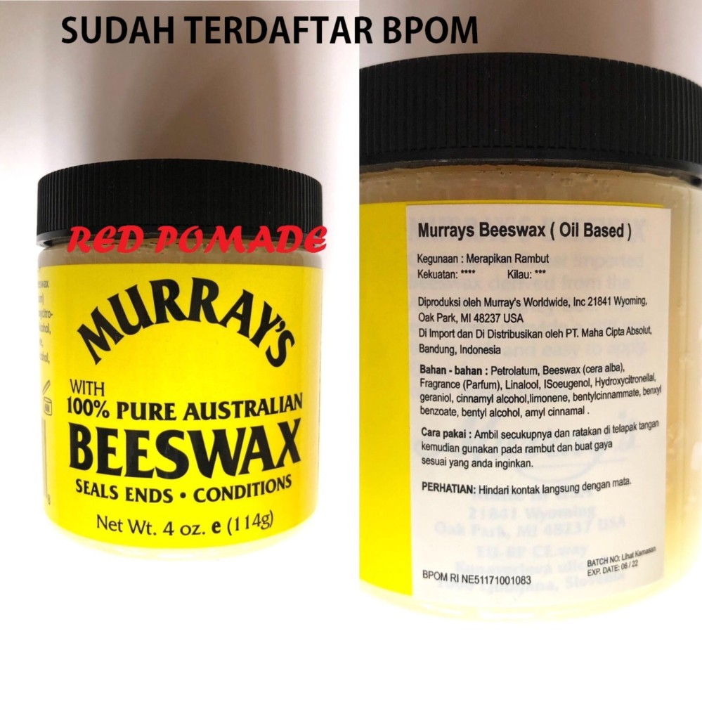 REVIEW Pomade Murray's Murrays –  Pure Beeswax Oil based Oilbased Sudah BPOM + Free Sisir Saku Terbaik