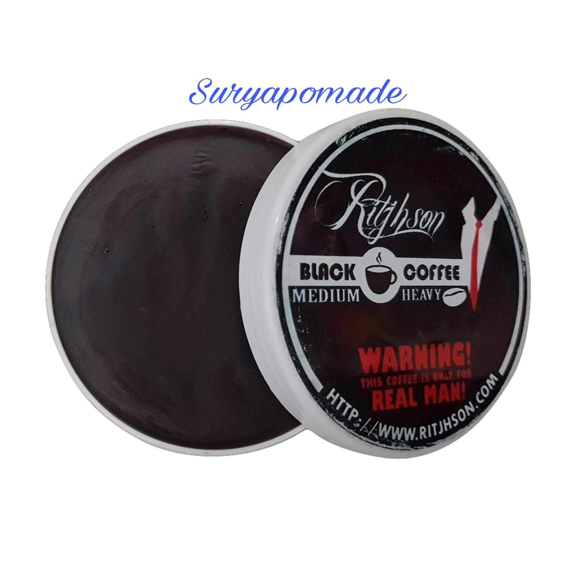 Pomade Ritjhson Black Coffee Kopi Strong Hold Oilbase 3.5oz - Free Sisir