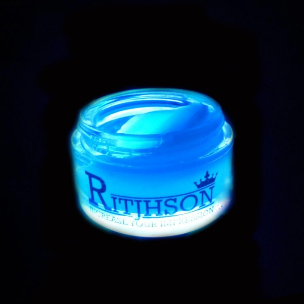 BELI..! POMADE RITJHSON GLOW IN THE DARK BLUE BIRU + FREE SISIR SAKU Terlaris