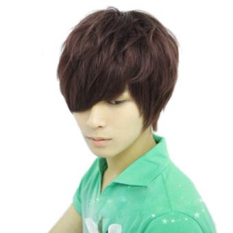 Harga Pria Yang Mengenakan Wig Pendek Fashion Netral Penuh Coklat Gelap Langsung Mengenakan Wig Cosplay Murah