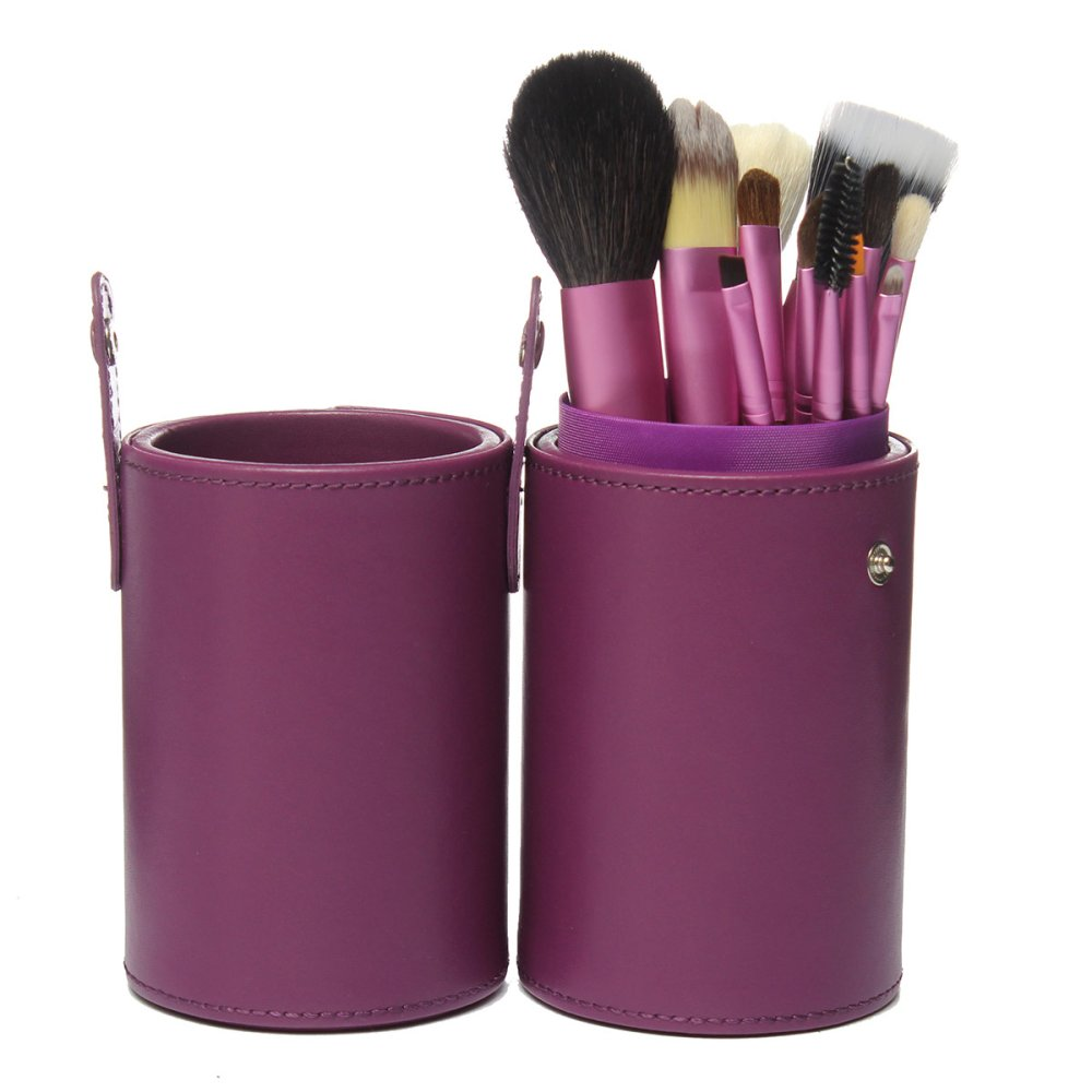 ... Pro 13 buah bedak tabur Makeup Brush Set kuas kosmetik Kit dankasus Cup Holder ungu ...