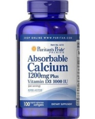 Puritan Pride Absorbable Calcium 1200 mg with Vitamin D - 100 Softgels