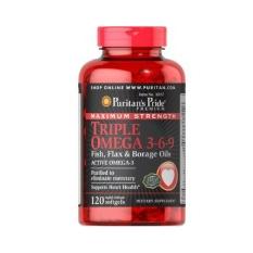 Puritan Pride Maximum Strength Triple Omega 3-6-9 - 120 Kapsul