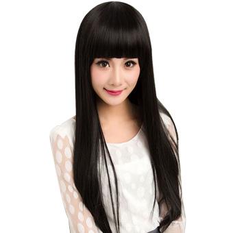 Harga Rambut wig dengan poni lurus datar yang panjang untuk Pesta Natalcosplay Halloween Hitam Murah