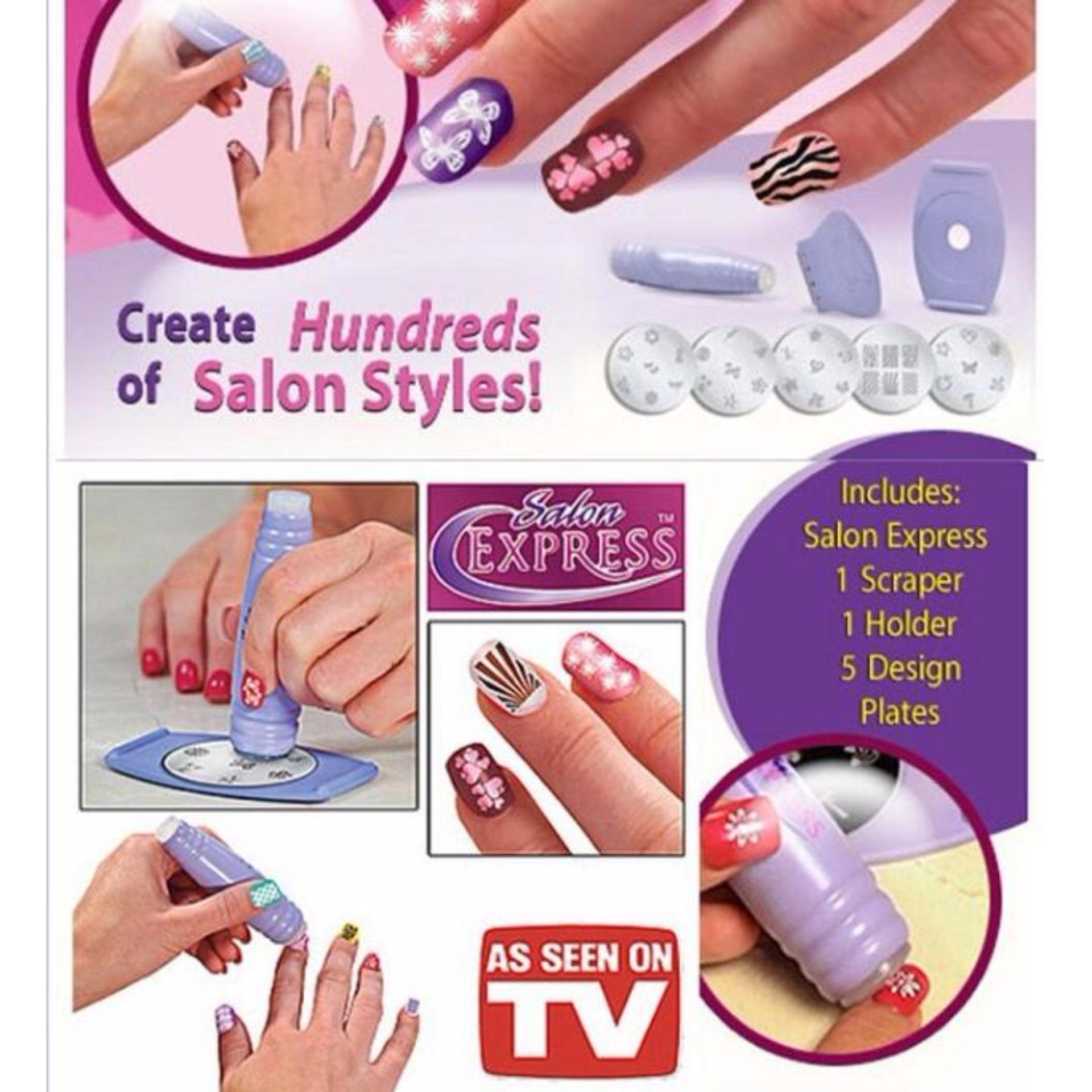 Salon Express Nail Art Stamping Kit As Seen TV - Penghias Kuku -