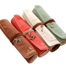 ... Soft Canvas Wrap Roll Up Pen Pencil Makeup Case Holder Retro Makeup Brush Bag Pouch Storage