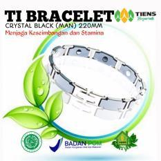 tiens gelang kesehatan TI BRACELET CRYSTAL BLACK (MAN) 220MM penyeimbang badan by silfa shop