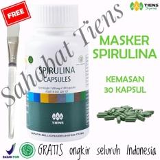 Tiens Pemutih Wajah Masker Hijau Spirulina Herbal Terpercaya - Paket 30 Kapsul (Gratis Kuas) + Free Kartu Member SAHABAT TIENS