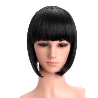 Harga Wanita pendek dan datar lurus Bang Bob rambut wig untuk Halloweenpesta Natal cosplay Hitam Murah
