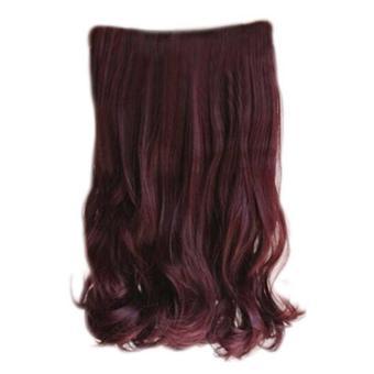 Harga Wanita rambut palsu panjang ekstensi rambut ikal bergelombang mengenakan Wig 60 cm dengan 5 klip – International Murah
