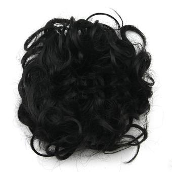 Harga Wanita Sintetis Rambut Bergelombang Keriting Berantakan Piring RotiEkstensi Rambut Palsu Sanggul Nampan Ekor Kuda Hitam Murah