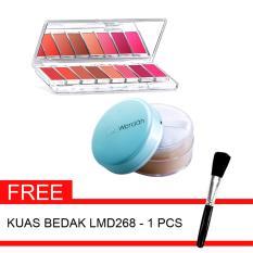 Wardah Paket Lip Palette A + Evd Luminous Face Powder & Gratis Kuas Bedak LMD268