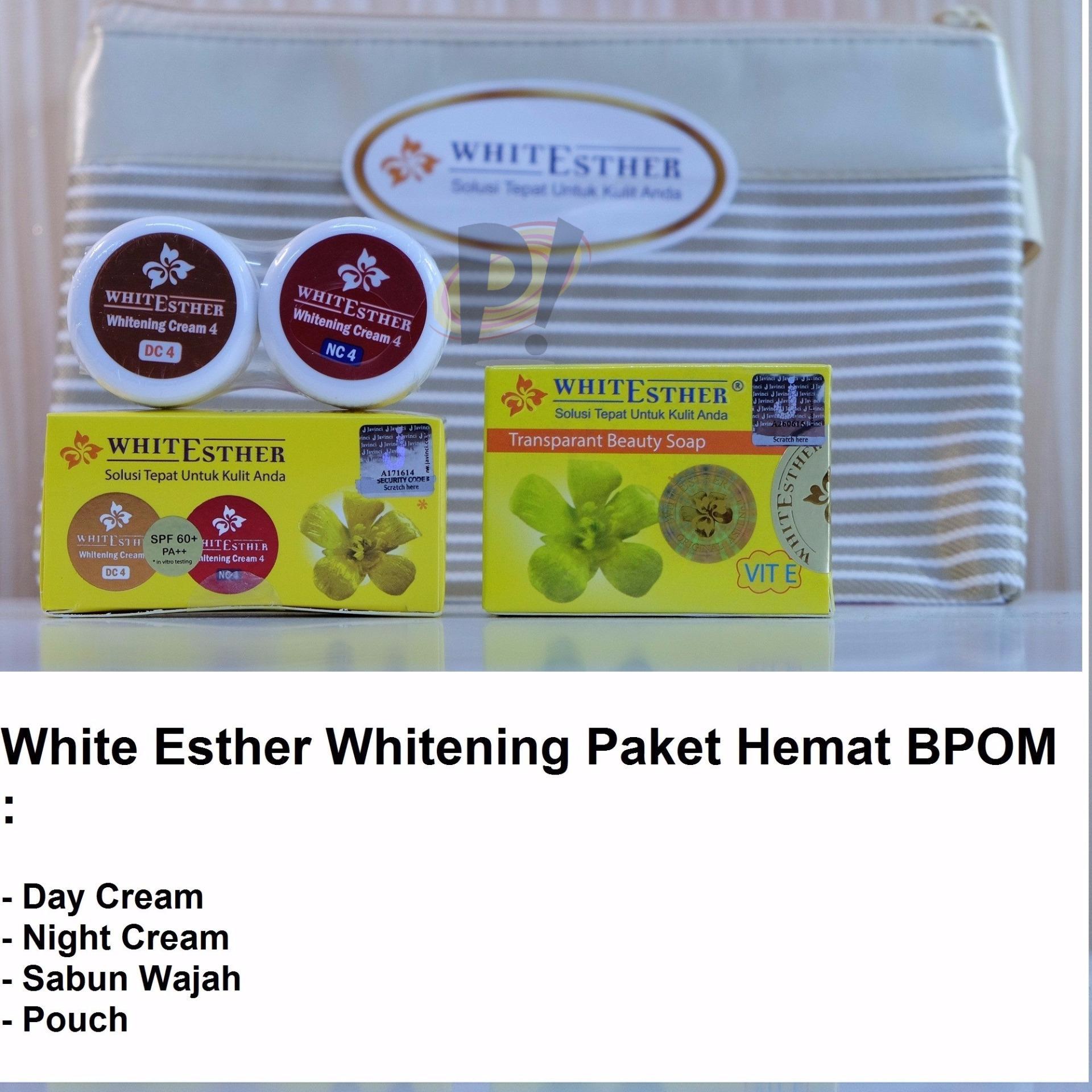 White Esther BPOM Paket Hemat ( Cream Siang, Malam, Sabun wajah+Dompet)