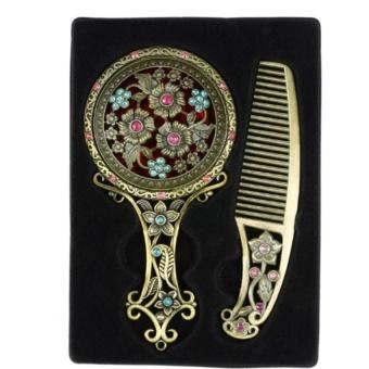 Harga Women Chic Retro Bronze Pocket Mirror Compact Makeup Mirrors CombSet Handheld Make Up Hollowed-Out Makeup Tool(OVERSEAS) – intl Murah