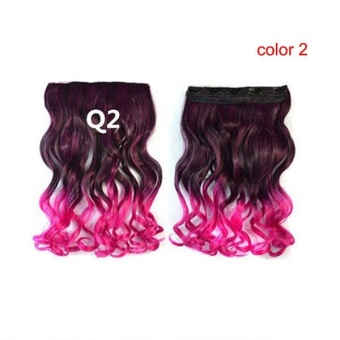 Women Long Curly Wavy Hairpiece Wigs with Hair Clip - intl ...
