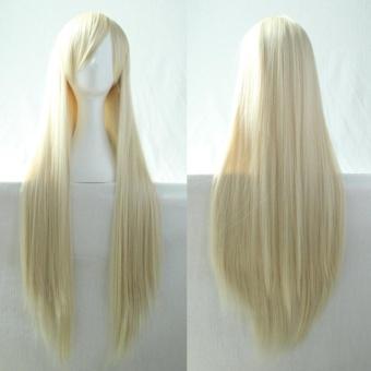 Harga Women'S Fashion Long Straight Anime Cosplay Costume Party Light Gold Hair Wig( Light Gold) – intl Murah