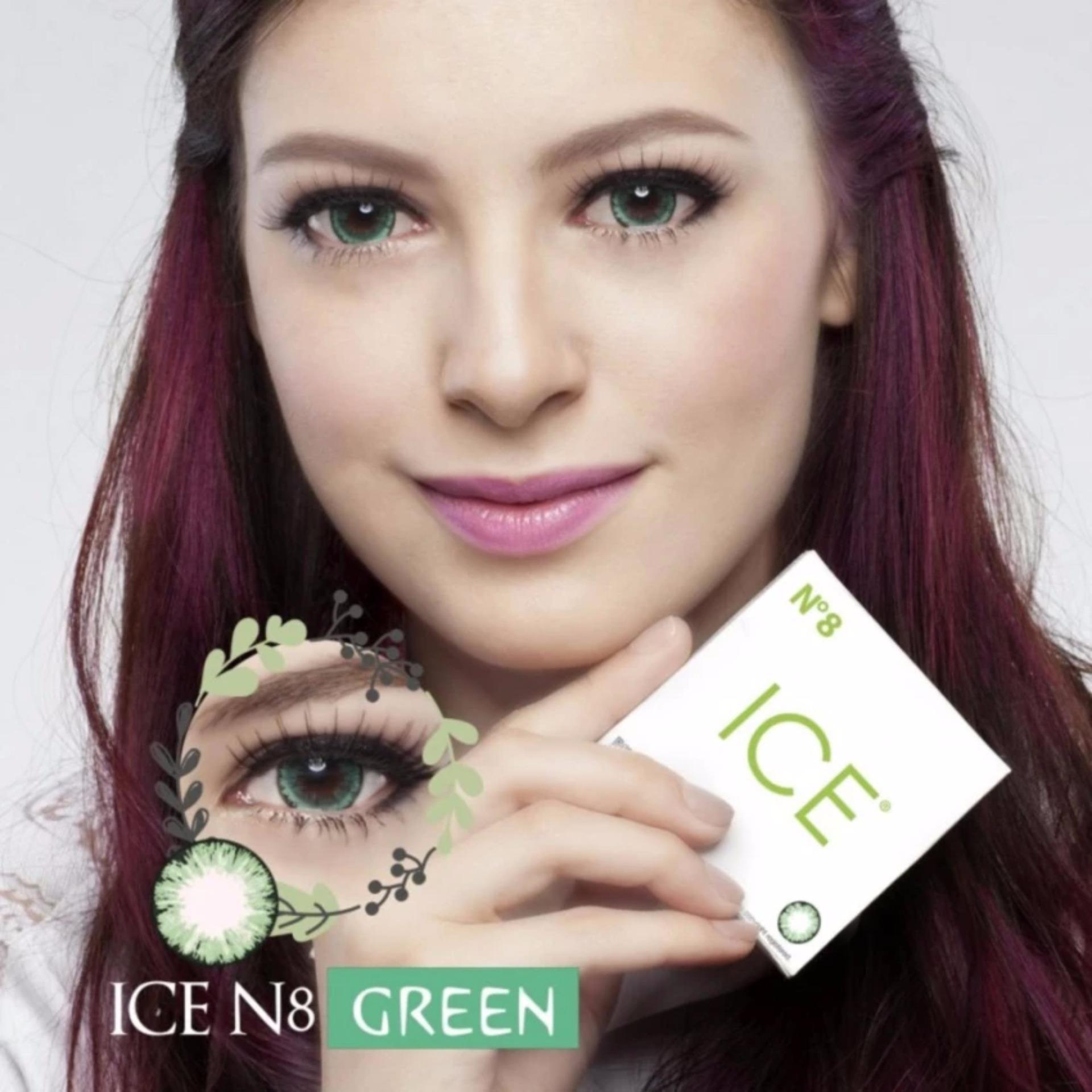 X2 Ice Nude N8 Softlens - Green Free Lenscase + Cairan 60ml .