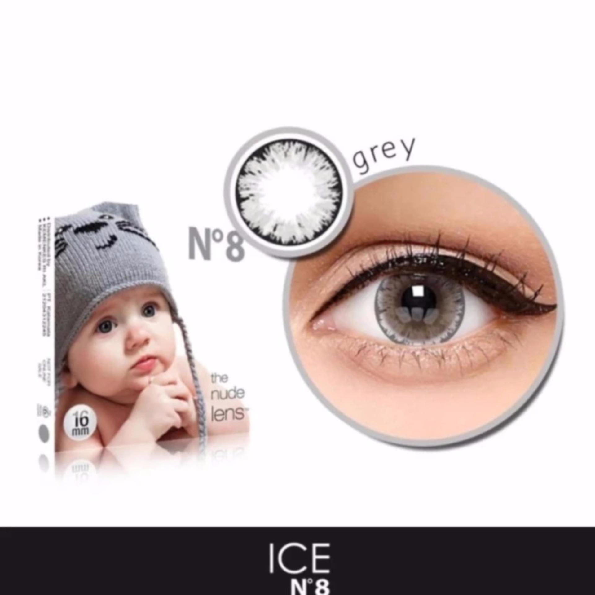 X2 Ice Nude N8 Softlens - Grey + Free Lenscase .