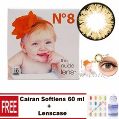 X2 Ice Nude N8 Softlens – Hazel  Free Lenscase + Cairan 60 ml