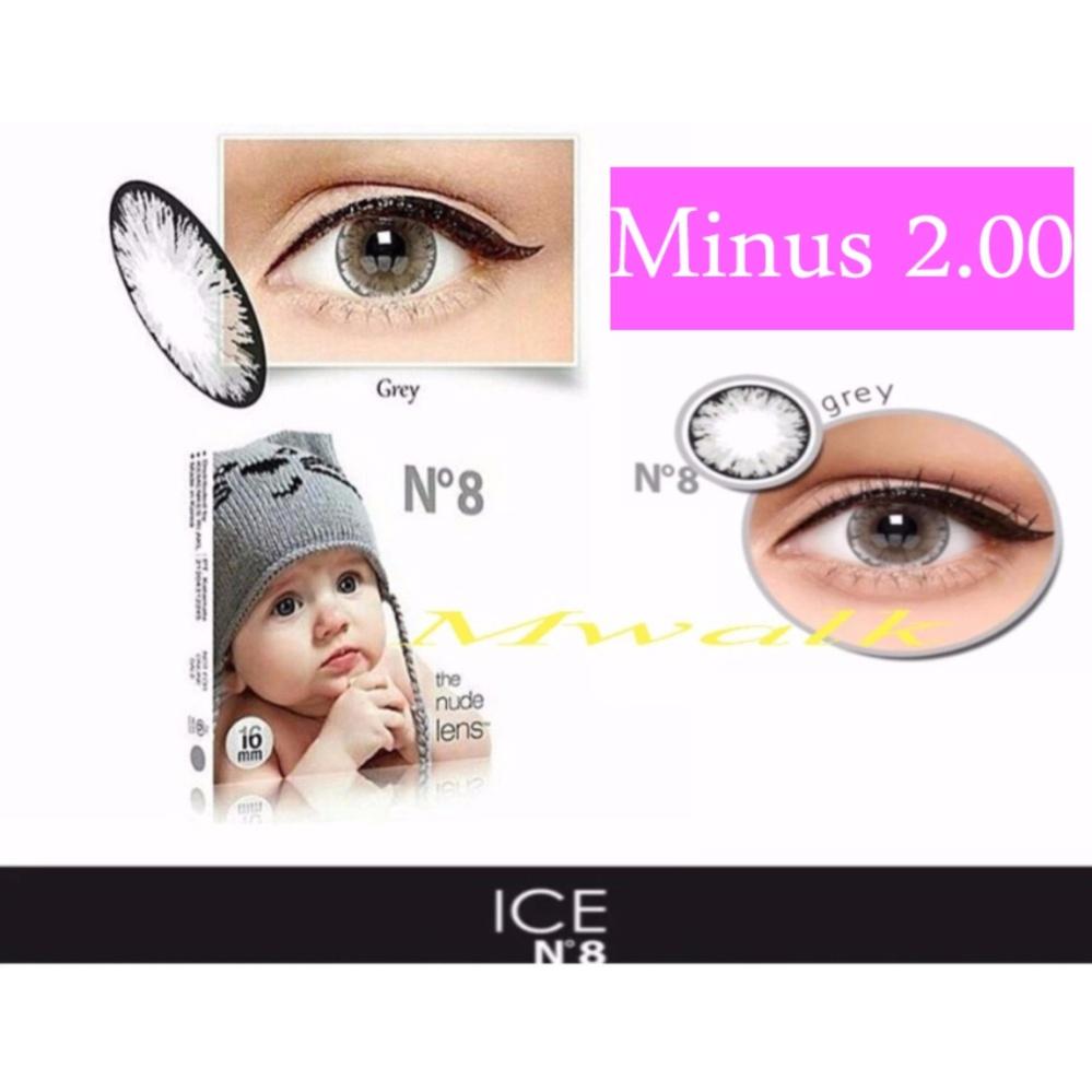 X2 Ice Nude N8 Softlens Minus 2 00 Gray Gratis Lenscase .