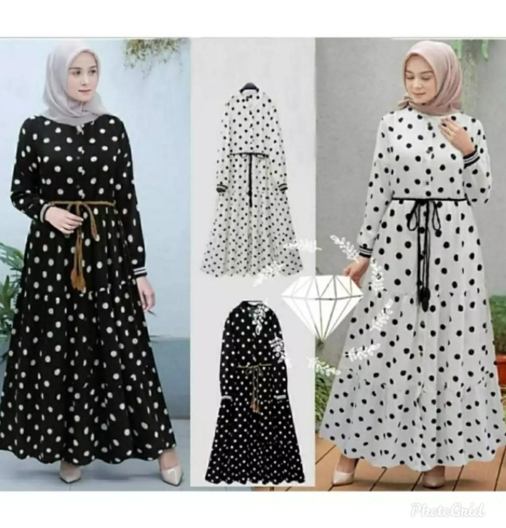 Gamis Polka Dot / Long Dress Wanita / GAMIS TERBARU / Baju Wanita / Baju  Gamis Wanita Terbaru 11 / Baju Kondangan Wanita / GAMIS WANITA MODERN