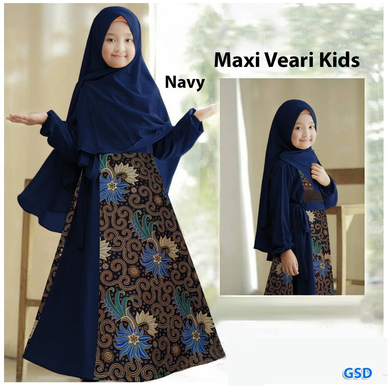 Setelan gamis batik anak ada Hijabnya 12-12 tahun / gamis batik modern / baju  muslim anak cewek / gamis syarii anak / Maxi Veari kids murah