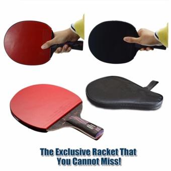 1 x merek kualitas serat karbon raket tenis meja Double Blade dengan wajah karet raket kelelawar buah kapas NANO-V dengan tas tenis meja kelelawar - Internasional