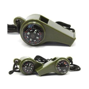 3-in-1 berkemah mendaki peralatan Survival peluit darurat kompastermometer - 2