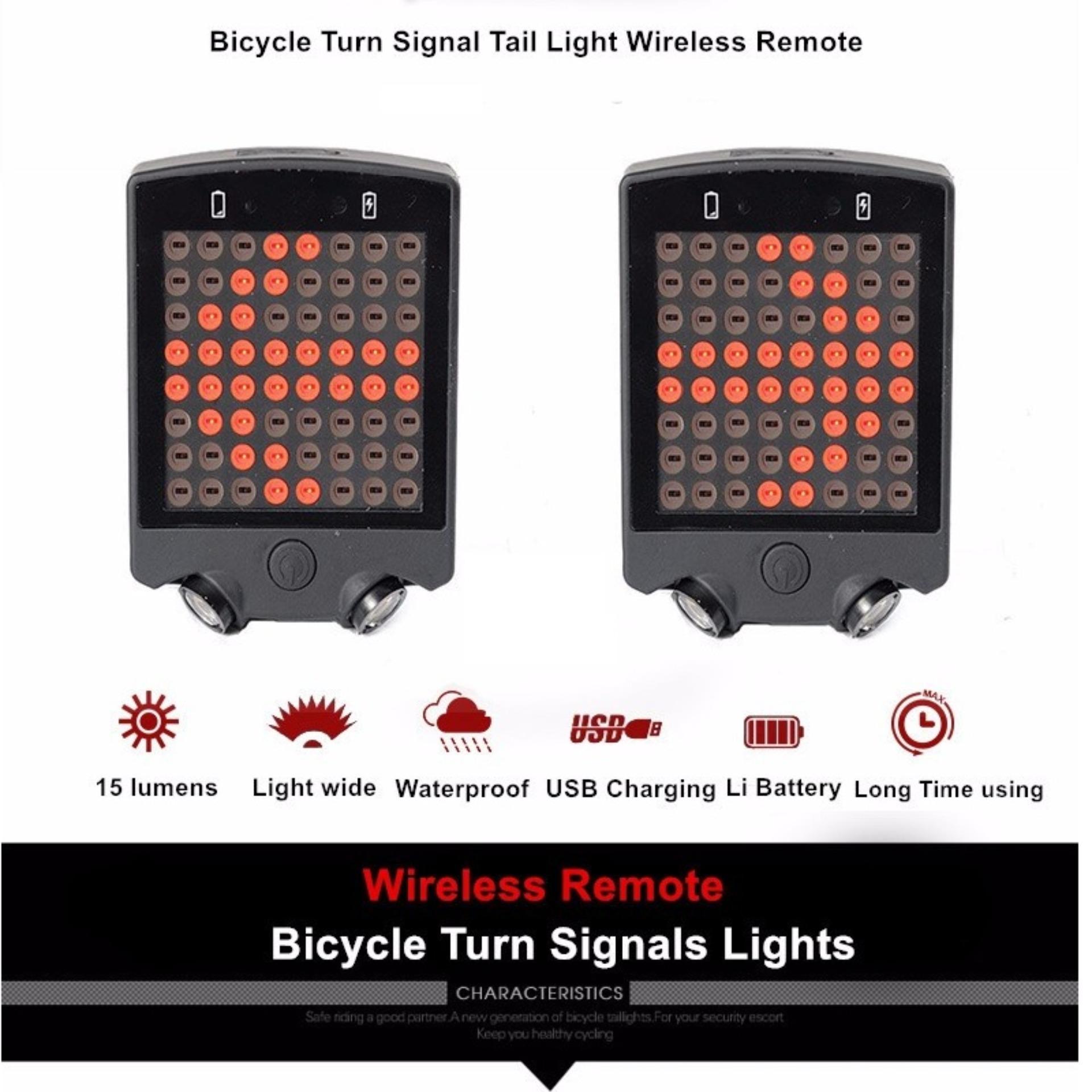 64 ekor lampu belakang sepeda Laser LED adaptor isi ulang menjadi sinyal peringatan cahaya - ?