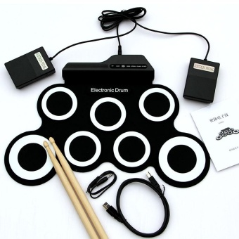 harga 7 Pad USB Portable Silicone Roll Up Foldable Musical ElectronicDrum W/ Stick - intl Lazada.co.id