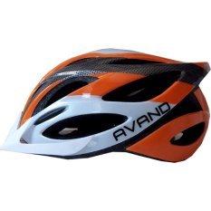 Avand A06 Bikes Helmet / Helm Sepeda Berlampu Belakang - Orange Putih