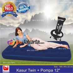 Bestway Kasur Angin Twin Biru (188 x 99cm) + Bestway Pompa Angin   Kasur Tiup - Kasur Udara Bestway 67001