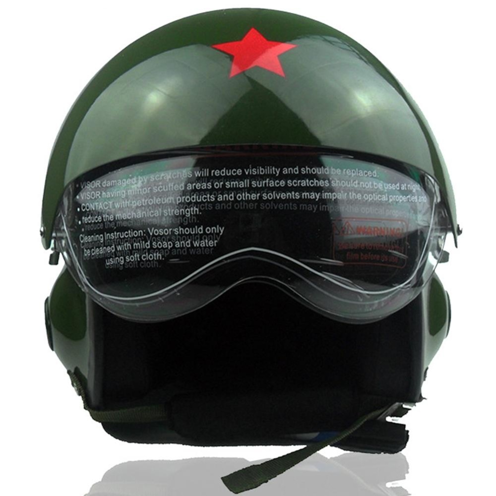 Glass Fibre Reinforced Plastic Pilot Motorcycle Electric Car Winter Helmet for Men and Women Color:Green Specification:Free Size - intl