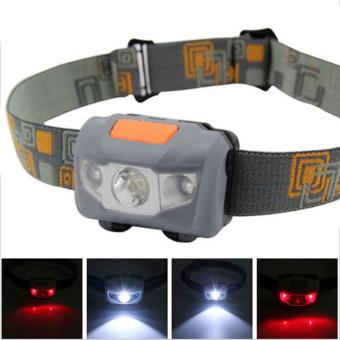 Headlamp Flashlight Waterproof White & Red LED - Gray