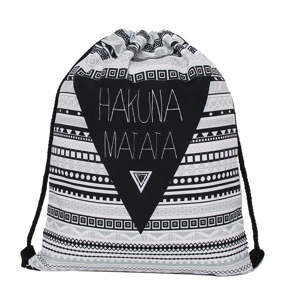 ... Hot Fashion Men's Women's Print Shoulder Folding Drawstring String Bag Backpack School Rucksack Gym Sport Handbag ...