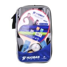 HUOBAN 6335B Raket Tenis Meja Ping Pong Paddle Long Handle Double Face Raket Tenis Meja Set dengan Bola Bag- INTL