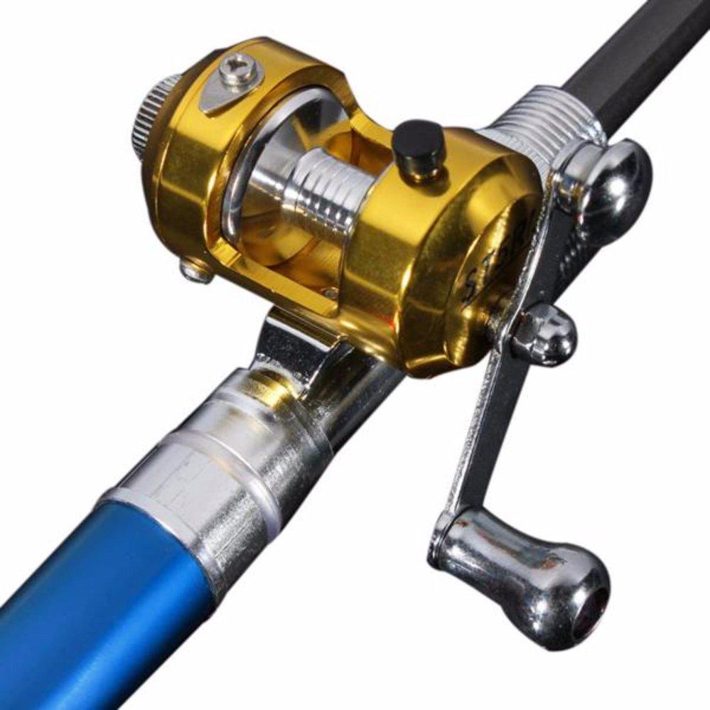 ... Igogo Mini Portable Pocket Fish Pen Shape Aluminum Alloy FishingRod Pole Reel Blue