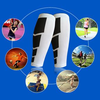 Allwin olahraga kaki betis kaki pendukung kompresi latihan peregangan lengan Unisex putih (